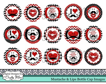 Mustache & Lips Valentine Bottle Cap Images: Instant Digital Download