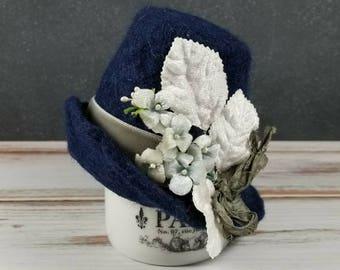 Navy Blue Felted Wool Hat for Blythe Dolls- Velvet Flowers, millinery Leaves, velvet ribbon
