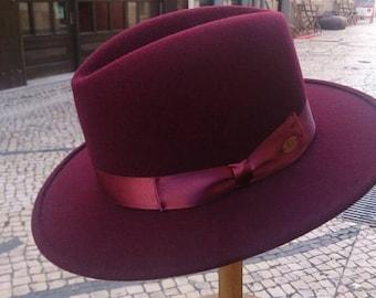 Homburg felt flat brim hat - Made in Portugal