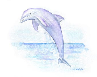 Dolphin Watercolor Painting - 7x5- Giclee Print Reproduction Sea Creature Ocean Animal Art