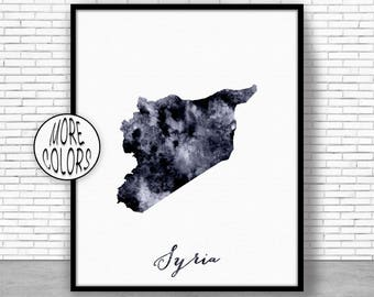 Syria Print Syria Art Print Home Decor Syria Map Art Wall Art Decor Home Wall Decor Watercolor Painting Wall Prints ArtPrintZone
