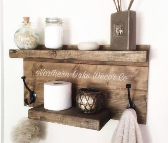 Rustikale Holz-Regal Handtuchhalter Eingang Regal