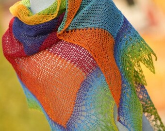 Grand Lace rainbow  wool shawl multicolor