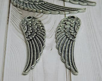 52x14mm - Angel Wing Pendant - Angel Wing Charms - Silver Angel Wings - Silver Pendants - Large Pendants - Boho Pendants - (B593)
