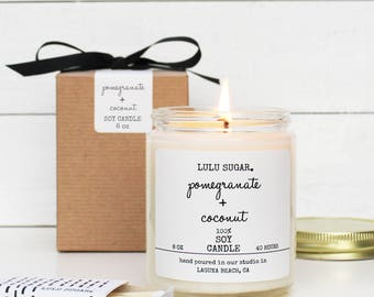Pomegranate + Coconut Scented Soy Candle - 8 oz Candle - Pomegranate Scented Candle | Coconut Scented Candle | Phthalate Free Candle