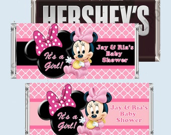 Baby MINNIE MOUSE Baby Shower Candy Bar Wrapper, Hershey Bar Wrappers, PRINTABLE