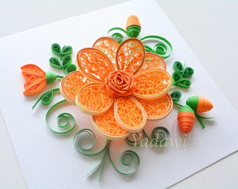 Quilled Paper Art, Quilled Flower, Paper Wall Art, 3D Paper Flower, Home Decor, Wall Decor, Framed Quilling Art, Customizing Color Available