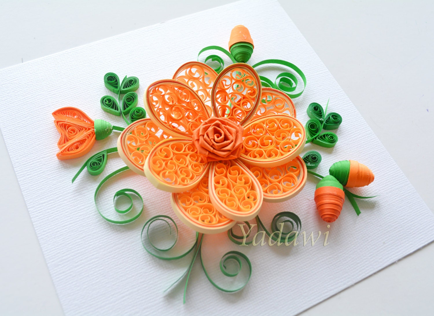 Quilled paper art quilled flower paper wall art 3d paper for Decoration quilling
