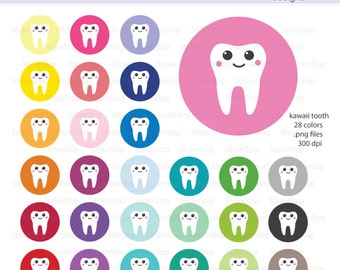 Kawaii Tooth Reminder Digital Clipart - Instant download PNG files