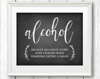 Alcohol Sign, Wedding Alcohol Sign Printable, DIY Rustic Chalkboard Wedding Sign, Instant Download, Digital File, PDF Format, 8x10 #CH16