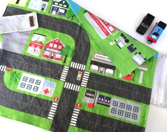 REVERSIBLE Travel Play Mat | Cars + Trains | Folding Car Mat | Kids Travel Activity | Play Car Mat