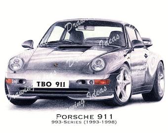 Porsche 911 (993 Series) Limited Edition A3 Giclee Print