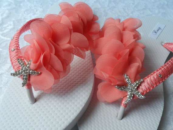 Wedding Flip Flops Bridesmaids Coral Beach Bridal Flip Leaf Flops Rhinestone Flip Flops Flops Coral Flip Chiffon nHwxCxq
