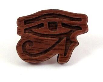 Eye of Horus Pin - Sustainably Harvested Walnut