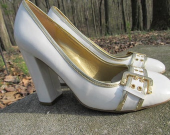 Vintage Cream Patent Leather and Gold Buckle Shoes