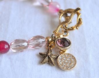 PINK QUARTZ STARFISH Bracelet Pink Mixed Beads Pink Crystal Charm