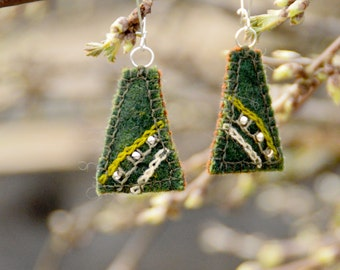 Handmade textile earrings. Textile earrings with embroidery and silver beads. Green woolen earrings.