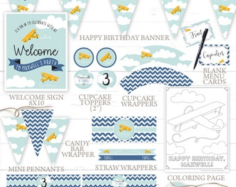 Airplane Birthday Party Decorations Printable Set - DIY Print - Boy or Girl - First Birthday, 1ST, 2ND, 3RD, Etc. Fly Soar Up Up And Away