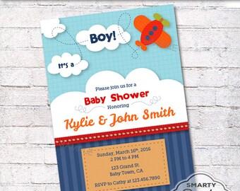 Airplane baby shower invitations Etsy