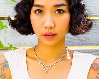 Vintage Rhinestone Necklace/ Rhinestone Choker/ Vintage Jewelry/ Vintage Necklace/ Costume Jewelry/ 50s Jewelry/ Bridal Jewelry/ Crystal Set