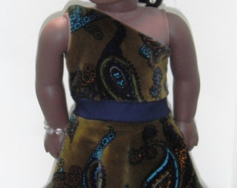 "Aqua & Army Green One Shoulder Velvet Paisley Dress 18"" Doll w/ Invisible side zipper"