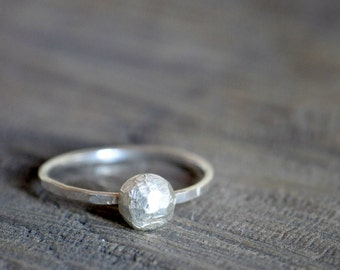 Sterling silver pebble ring - stacking ring or solitaire - recycled silver