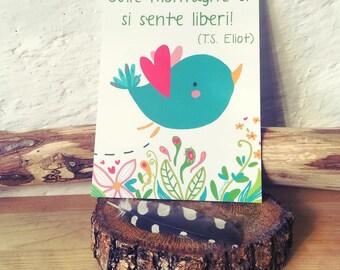 "Postcard ""On the mountains you feel free"""