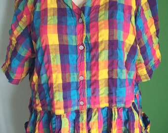 Bright multicolored dress with pockets (plus)