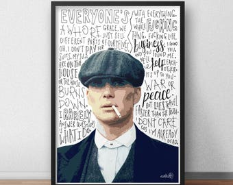 Thomas Shelby print / poster hand drawn typography quotes Peaky Blinders print / poster