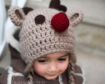 Christmas Hat - Baby Christmas hat, Reindeer Hat - newborn Christmas hat, Toddler Christmas hat, Adult Christmas hat