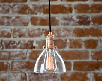 Industrial Pendant Light Copper Glass Bell Cone Shade Round Canopy Kit Black Brown White Red Zig Zag Houndstooth