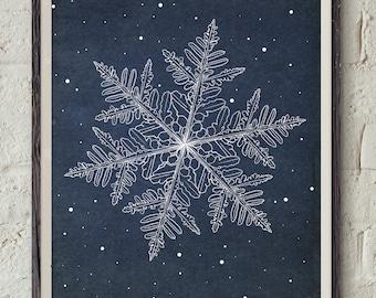 Snowflake Printable - Winter Wall Decor - Christmas Wall Art - Digital Download Art - Christmas Decoration - Xmas Gift - Snow Print