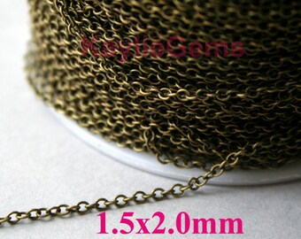 Strong Fine Delicacy Soldered Closed Brass Chain 1.5x2mm Antique Brass Plated Oval Cable Cross Link Chain-12ft