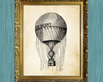 Balloon Art Print Steampunk Balloon 8 x 10