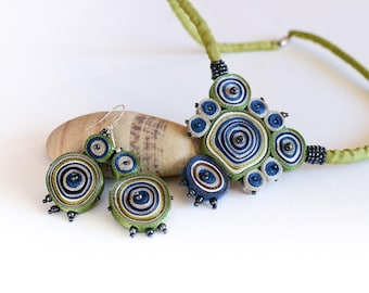 Gift set for her: bib necklace green and dangle earrings, fabric pendant blue, textile necklace beaded, pendant necklace, gift for woman oak