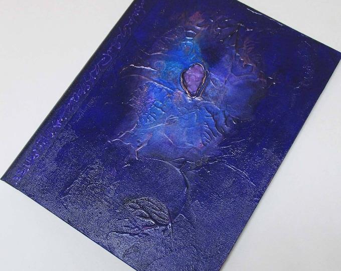 Handmade Journal Refillable Blue Violet Nebula 12x9 Original traveller notebook fauxdori