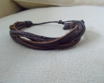 Brown Leather Surfer Style Bracelet