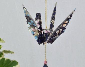 Origami Crane Hanging Ornament - navy blue Japanese paper, hand varnished, on gold string with Swarovski crystals