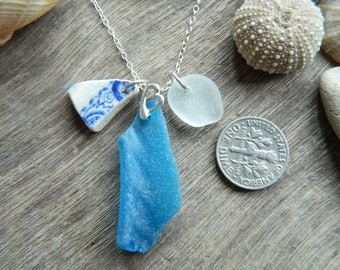 Pretty sterling silver sea glass and pottery necklace