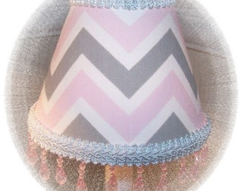 New Pink White & Gray CHEVRON Mini Accent Lamp Shade with Lt Pink Beaded Fringe