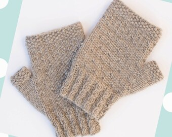 Fingerless mitts, PDF knitting pattern
