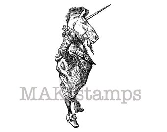 Rubber stamp Alice / Unicorn  / Alice in Wonderland unicorn stamp (140809)