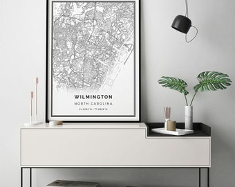 Wilmington map print | Scandinavian wall art poster | City maps Artwork | North Carolina gifts | Artwork For Wall | M235
