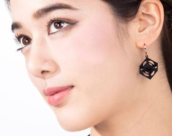 Turner's Cube Earrings (Black)  | Scaling Collection