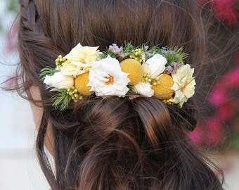 """Comb flower """"Nina"""" accessory hair rustic wedding hair comb for bun, stabilized for bridal hair Flower Adornment"""