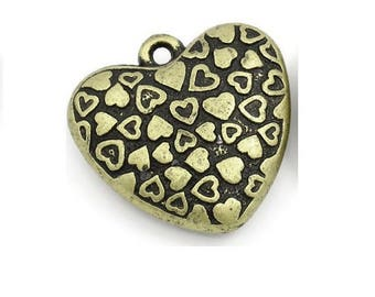 large 3D (R42) 3cm bronze heart pendant