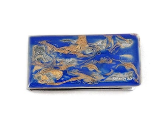 Money Clip Hand Painted Enamel in Cobalt Blue with Gold Quartz Inspired in a Glossy Finish Customizable Colors with Personalized Option