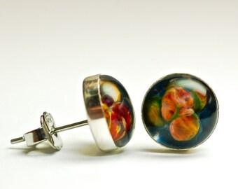 Silver stud earrings boro art glass cabochon earrings by Paulbead simple minimalist post earrings sterling and surgical steel stud earrings
