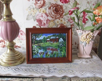 Small framed original painting, 5x7 original acrylic landscape, countryscape, red barn, nature,water, green, farm, flowers, summer, pastoral