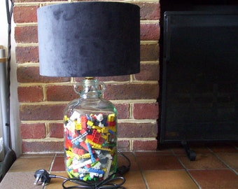 Lego® Demijohn Light, Handmade Lamp, Charcoal Lampshade, Recycled Demijohn, Vintage Lego® Bricks, Father's Day, Birthday Gift for Him